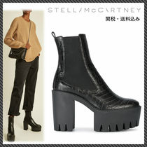 Stella McCartney Round Toe Casual Style Plain Leather Chelsea Boots