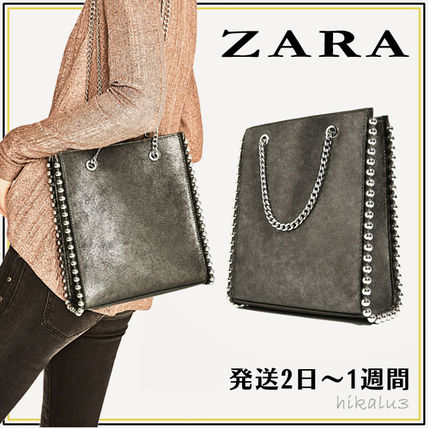 Casual Style Studded 2WAY Totes