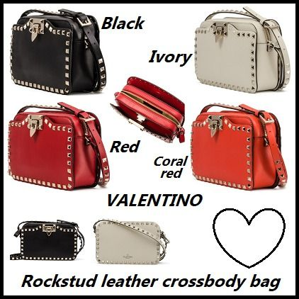 Leather crossbody bag with studded