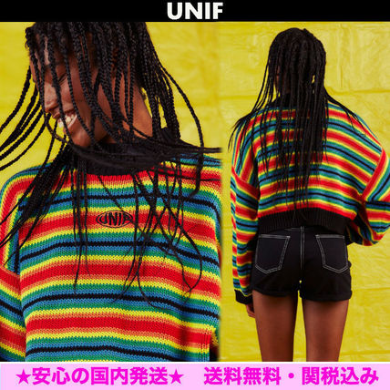 UNIF Clothing Stripes Cotton Medium Oversized Puff Sleeves Sweaters