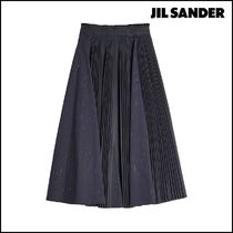 Jil Sander Plain Cotton Medium Office Style Midi Skirts