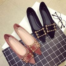 Casual Style Velvet Plain Elegant Style Pointed Toe Shoes
