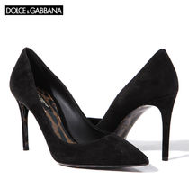 Dolce & Gabbana Plain Leather Pin Heels Elegant Style