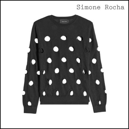 Simone Rocha Short Dots Casual Style Wool Bi-color Long Sleeves Cropped