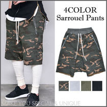 Camouflage Plain Cotton Oversized Sarouel Shorts