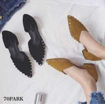 Casual Style Suede Studded Plain Block Heels Slippers