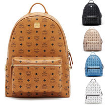 MCM Casual Style Unisex Leather Backpacks