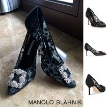 Manolo Blahnik Hangisi Flower Patterns Leather Pin Heels Party Style With Jewels
