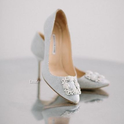 Plain Leather Pin Heels With Jewels Elegant Style