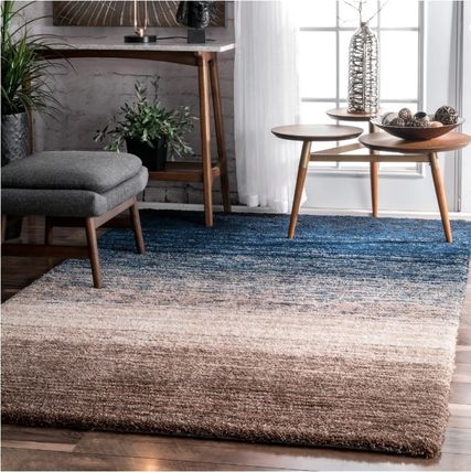 Gradation blue Brown rug 152 x 243.84 cm 5 'x 8'