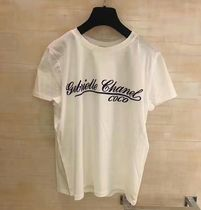CHANEL ICON Unisex Street Style Cotton Short Sleeves Logo T-Shirt