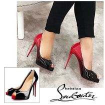 Christian Louboutin Open Toe Enamel Bi-color Plain Pin Heels Elegant Style