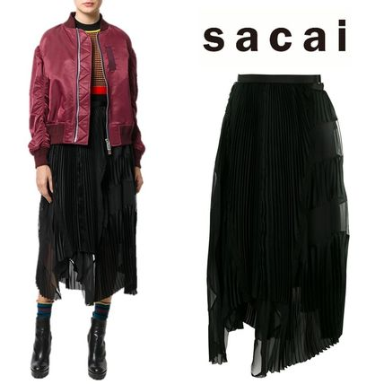 sacai Pleated Skirts Plain Medium Elegant Style Midi Skirts
