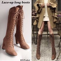 Square Toe Lace-up Casual Style Suede Plain Chunky Heels