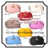 d57884db602c GUCCI GG Marmont Casual Style Chain Plain Leather Shoulder Bags