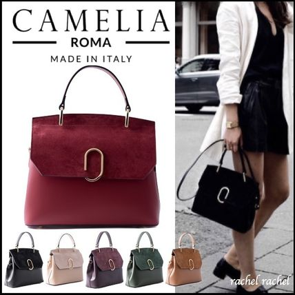 Blended Fabrics 2WAY Plain Leather Elegant Style Handbags