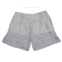 Stella McCartney Short Stripes Casual Style Cotton Denim & Cotton Shorts