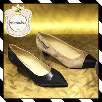 CHANEL Pin Heels Elegant Style Pointed Toe Pumps & Mules
