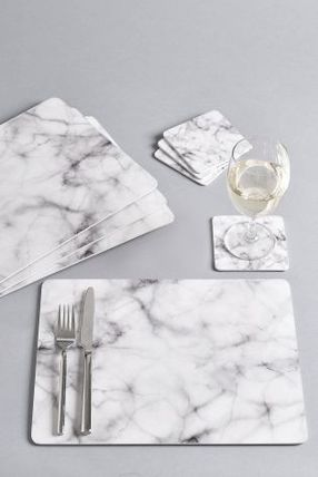 Marble-like place mats & coasters total 8 pieces