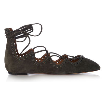 Leoni eyelet suede lace-up flats