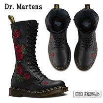 Dr Martens Flower Patterns Round Toe Rubber Sole Leather Flat Boots