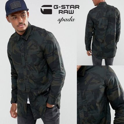 G-Star Camouflage Denim Street Style Short Sleeves Shirts