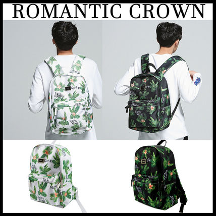 Tropical Patterns Casual Style Street Style Backpacks