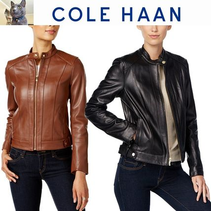 Cole Haan Casual Style Plain Leather Biker Jackets