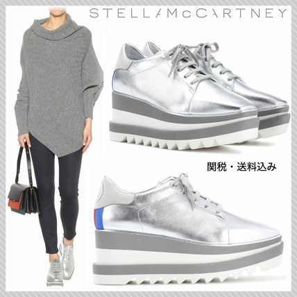 Stella McCartney ELYSE Stripes Square Toe Platform Lace-up Casual Style Faux Fur