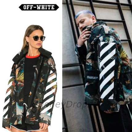 Off-White Stripes Unisex Long Sleeves Other Animal Patterns Cotton