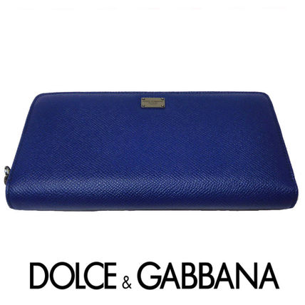 Round zippers long wallet blue