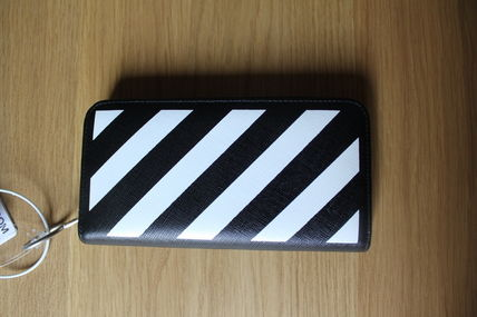 Off-White Stripes Street Style Leather Long Wallets
