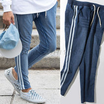 Stripes Street Style Plain Cotton Joggers & Sweatpants