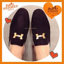 HERMES CONSTANCE Casual Style Plain Leather Block Heels Loafer Pumps & Mules