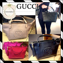 GUCCI Soho 2WAY Plain Leather Elegant Style Totes