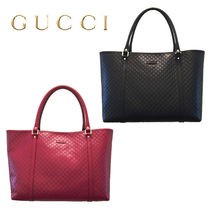 GUCCI A4 Plain Leather Office Style Totes