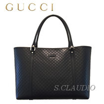 GUCCI Casual Style A4 Plain Leather Office Style Elegant Style