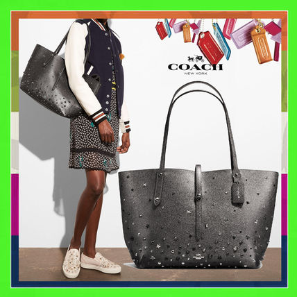 Casual Style Studded Plain Leather Totes
