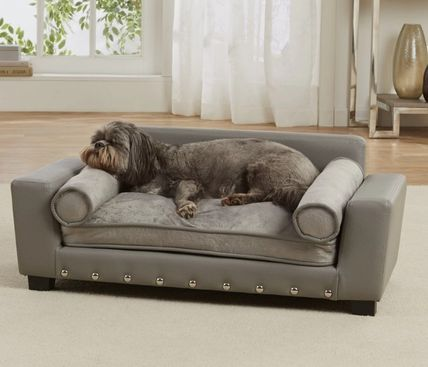 Studded with dog Sofe pet bed cat gray
