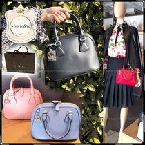 GUCCI 2WAY Plain Leather Elegant Style Handbags