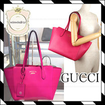 GUCCI Plain Leather Office Style Totes