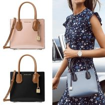 Michael Kors MERCER 2WAY Bi-color Plain Leather Elegant Style Shoulder Bags