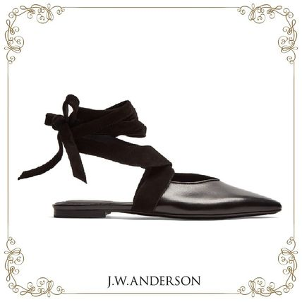 17 AW J.W.Anderson leather backless ballet flats