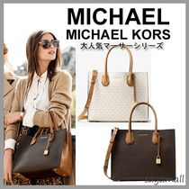 Michael Kors MERCER A4 2WAY Plain Office Style Totes