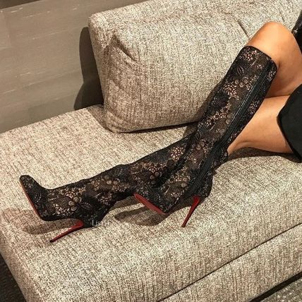 17 AW art knee high boots black lace 10 cm