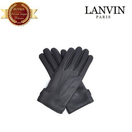 Topstitched grained-leather gloves