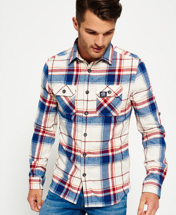 Superdry Other Check Patterns Long Sleeves Cotton Shirts