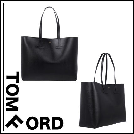 Men's black leather tote