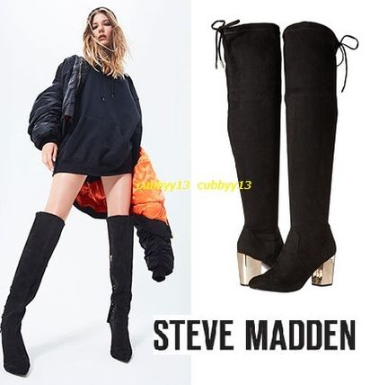 b432956947b ... Steve Madden Over-the-Knee Round Toe Casual Style Street Style Plain  Block Heels ...