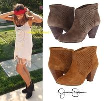 Jessica Simpson Round Toe Casual Style Suede Street Style Plain Block Heels
